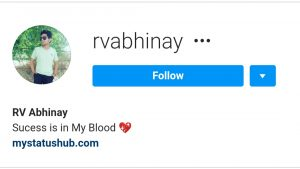 Rv abhinay Insta profile